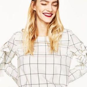 Zara white windowpane blouse medium new
